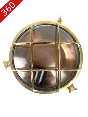 Revivals copper and brass round bulkhead nautical wall light