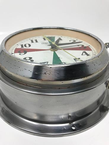 Vintage Seiko ship's radio-room clock polished - side