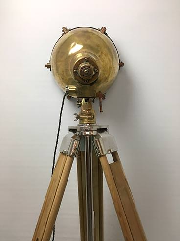 Vintage large brass ship's searchlight tripod floor lamp - view