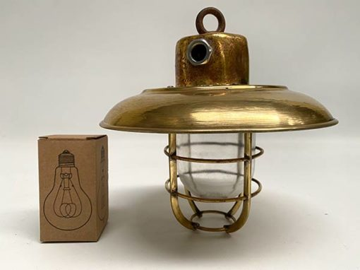 Vintage Brass Nautical Ceiling Light - scale
